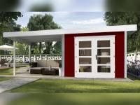 Weka Gartenhaus 126 Gr. 1 in schwedenrot mit Anbaudach 300 cm