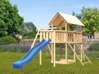 Akubi Spielturm Danny Satteldach + Rutsche blau + Einzelschaukel + Anbauplattform + Netzrampe