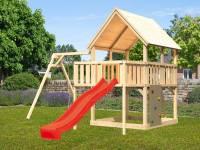 Akubi Spielturm Luis Satteldach + Rutsche rot + Einzelschaukel + Anbauplattform + Kletterwand