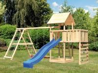 Akubi Spielturm Lotti Satteldach + Rutsche blau + Doppelschaukel Klettergerüst + Anbauplattform + Kl
