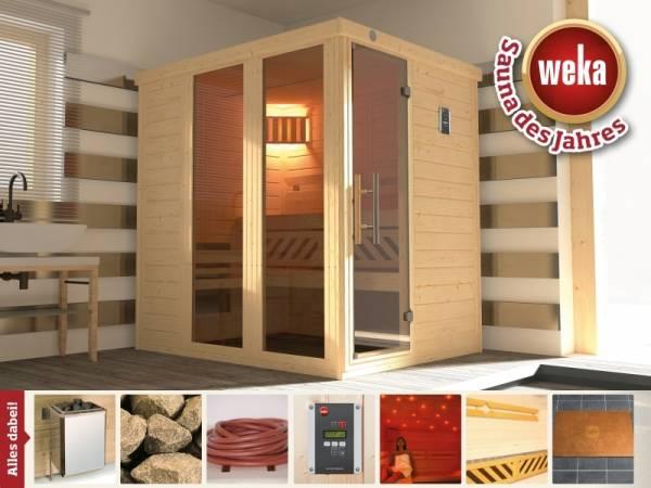 Weka Sauna Kemi Panorama 1 mit 7,5 kW Ofen inkl. Farbvisionen Set A