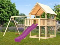Akubi Spielturm Luis Satteldach + Rutsche violett + Doppelschaukel + Anbauplattform