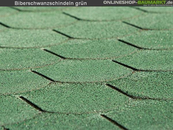 Bitumen-Dachschindeln Biberschwanz grün