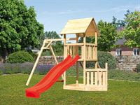 Akubi Spielturm Lotti + Schiffsanbau unten + Einzelschaukel + Rutsche in rot + Netzrampe
