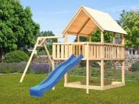 Akubi Spielturm Luis Satteldach + Rutsche blau + Einzelschaukel + Anbauplattform