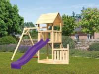 Akubi Spielturm Lotti + Schiffsanbau unten + Einzelschaukel + Rutsche in violett + Netzrampe