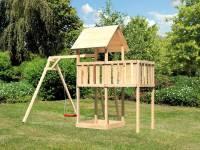 Akubi Spielturm Lotti natur mit Anbauplattform und Einzelschaukel
