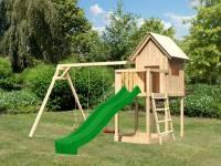 Akubi Spielhaus Frieda mit Doppelschaukel und Rutsche in grün