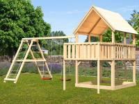 Akubi Spielturm Luis Satteldach + Doppelschaukelanbau Klettergerüst + Anbauplattform