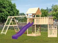 Akubi Spielturm Lotti + Schiffsanbau unten + Anbauplattform XL + Doppelschaukel mit Klettergerüst +