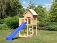Akubi Spielhaus Frieda mit Anbau und Rutsche in blau