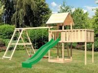 Akubi Spielturm Lotti natur mit Anbauplattform XL, Doppelschaukel inkl. Klettergerüst und Rutsche gr