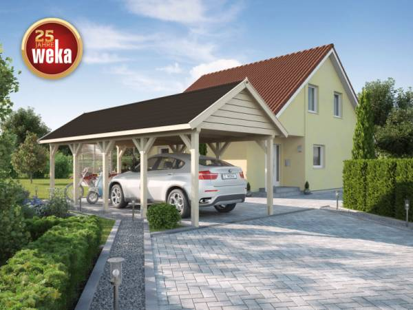 Weka Leimholz-Satteldach-Einzelcarport 614 Gr. 2