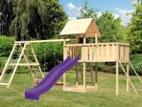 Akubi Spielturm Lotti Satteldach + Rutsche violett + Doppelschaukel Klettergerüst + Anbauplattform X