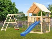 Akubi Spielturm Luis Satteldach + Rutsche blau + Doppelschaukelanbau Klettergerüst + Kletterwand