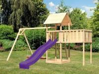 Akubi Spielturm Lotti natur mit Anbauplattform XL, Doppelschaukel und Rutsche violett