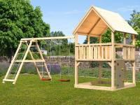 Akubi Spielturm Luis Satteldach + Doppelschaukelanbau Klettergerüst + Kletterwand