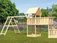 Akubi Spielturm Lotti + Schiffsanbau unten + Anbauplattform XL + Doppelschaukel mit Klettergerüst