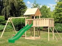 Akubi Spielturm Lotti Satteldach + Rutsche grün + Doppelschaukel + Anbauplattform XL + Netzrampe
