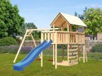 Akubi Spielturm Danny Satteldach + Rutsche blau + Doppelschaukel + Anbauplattform + Kletterwand