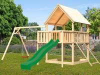 Akubi Spielturm Luis Satteldach + Rutsche grün + Doppelschaukel + Anbauplattform + Netzrampe