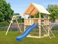Akubi Spielturm Luis Satteldach + Rutsche blau + Einzelschaukel + Netzrampe