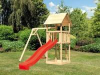 Akubi Spielturm Lotti mit Einzelschaukel und Rutsche rot