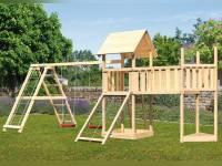 Akubi Spielturm Lotti Satteldach + Schiffsanbau oben + Doppelschaukel mit Klettergerüst + Anbauplatt