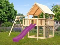 Akubi Spielturm Luis Satteldach + Rutsche violett + Einzelschaukel + Anbauplattform + Kletterwand
