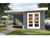 Weka Gartenhaus 126 Gr. 1 in grau mit Anbaudach 300 cm