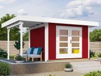 Weka Gartenhaus 126 Plus Gr. 1 mit Anbaudach 150 cm schwedenrot