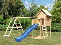Akubi Spielhaus Frieda mit Doppelschaukel inkl. Klettergerüst und Rutsche in blau