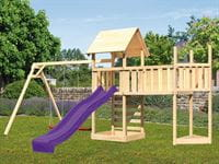 Akubi Spielturm Lotti Satteldach + Schiffsanbau oben + Doppelschaukel + Anbauplattform XL + Kletterw