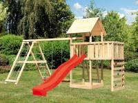 Akubi Spielturm Lotti Satteldach + Rutsche rot + Doppelschaukel Klettergerüst + Anbauplattform + Kle