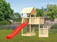Akubi Spielturm Lotti + Schiffsanbau unten + Anbauplattform + Kletterwand + Rutsche in rot