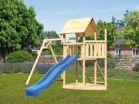 Akubi Spielturm Lotti Satteldach + Schiffsanbau oben + Einzelschaukel + Netzrampe + Rutsche in blau
