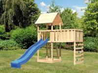 Akubi Spielturm Lotti natur mit Anbauplattform XL, Kletterwand und Rutsche blau