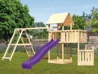 Akubi Spielturm Lotti + Schiffsanbau unten + Anbauplattform + Doppelschaukel mit Klettergerüst + Rut
