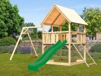 Akubi Spielturm Luis Satteldach + Rutsche grün + Einzelschaukel + Netzrampe