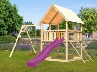 Akubi Spielturm Luis Satteldach + Rutsche violett + Einzelschaukel + Netzrampe