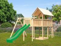Akubi Spielturm Danny Satteldach + Rutsche grün + Doppelschaukel + Anbauplattform XL