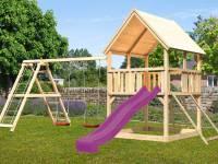 Akubi Spielturm Luis Satteldach + Rutsche violett + Doppelschaukelanbau Klettergerüst + Netzrampe