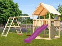 Akubi Spielturm Luis Satteldach + Rutsche violett + Doppelschaukelanbau Klettergerüst + Kletterwand