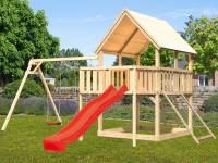 Akubi Spielturm Luis Satteldach + Rutsche rot + Doppelschaukel + Anbauplattform + Netzrampe