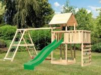 Akubi Spielturm Lotti Satteldach + Rutsche grün + Doppelschaukel Klettergerüst + Anbauplattform + Kl