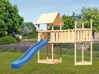 Akubi Spielturm Lotti Satteldach + Schiffsanbau oben + Anbauplattform XL + Rutsche in blau