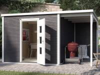 Weka Gartenhaus wekaLine 413 A Gr 2 anthrazit mit Anbau 150 cm