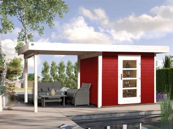 Weka Gartenhaus 172 Größe 1 in schwedenrot mit Anbaudach 300 cm