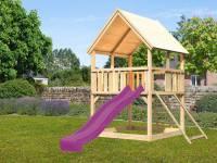 Akubi Spielturm Luis Satteldach + Rutsche violett + Anbauplattform + Netzrampe