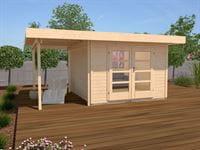 Weka Gartenhaus 126 Plus Gr. 1 mit Anbaudach 150 cm natur